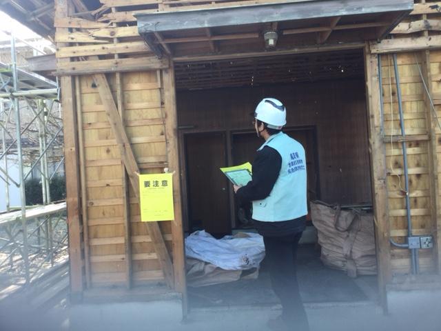 地震被害にあった状況を想定した建築物を題材に、判定を行いました。